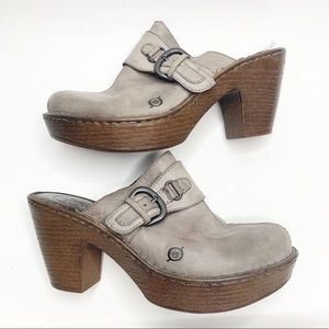 Born Gray Leather Mule Clogs size 9